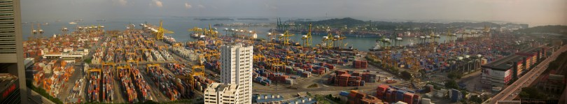 Panorama of Keppel Container Terminal, Singapore. Photo by Kroisenbrunner.