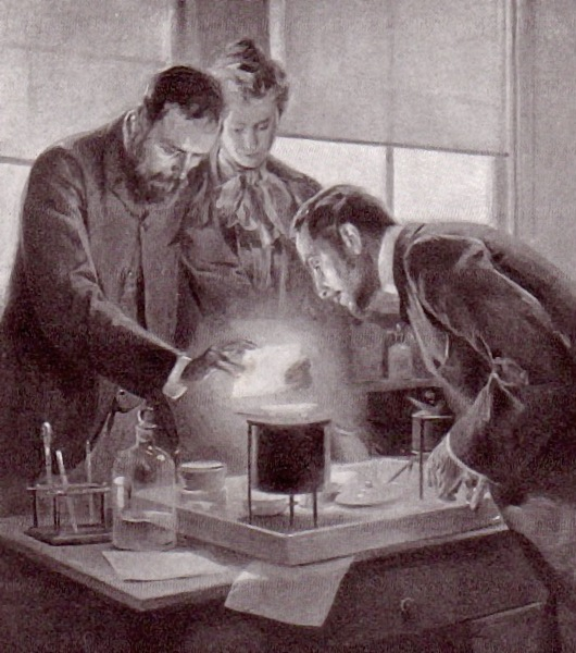 The Curies looking at glowing radium