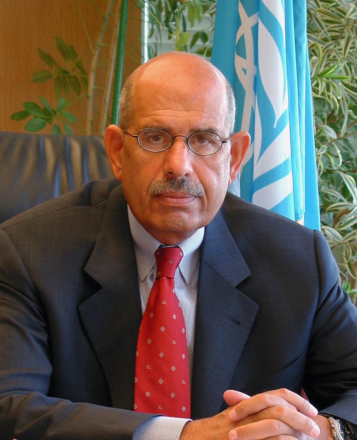 [Mohamed ElBarradei, image from the IAEA through Wikipedia]