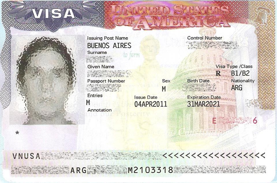 Visa americana B1/B2 estampada en Argentina.