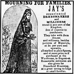 English: Advertisement for Victorian mourning ...