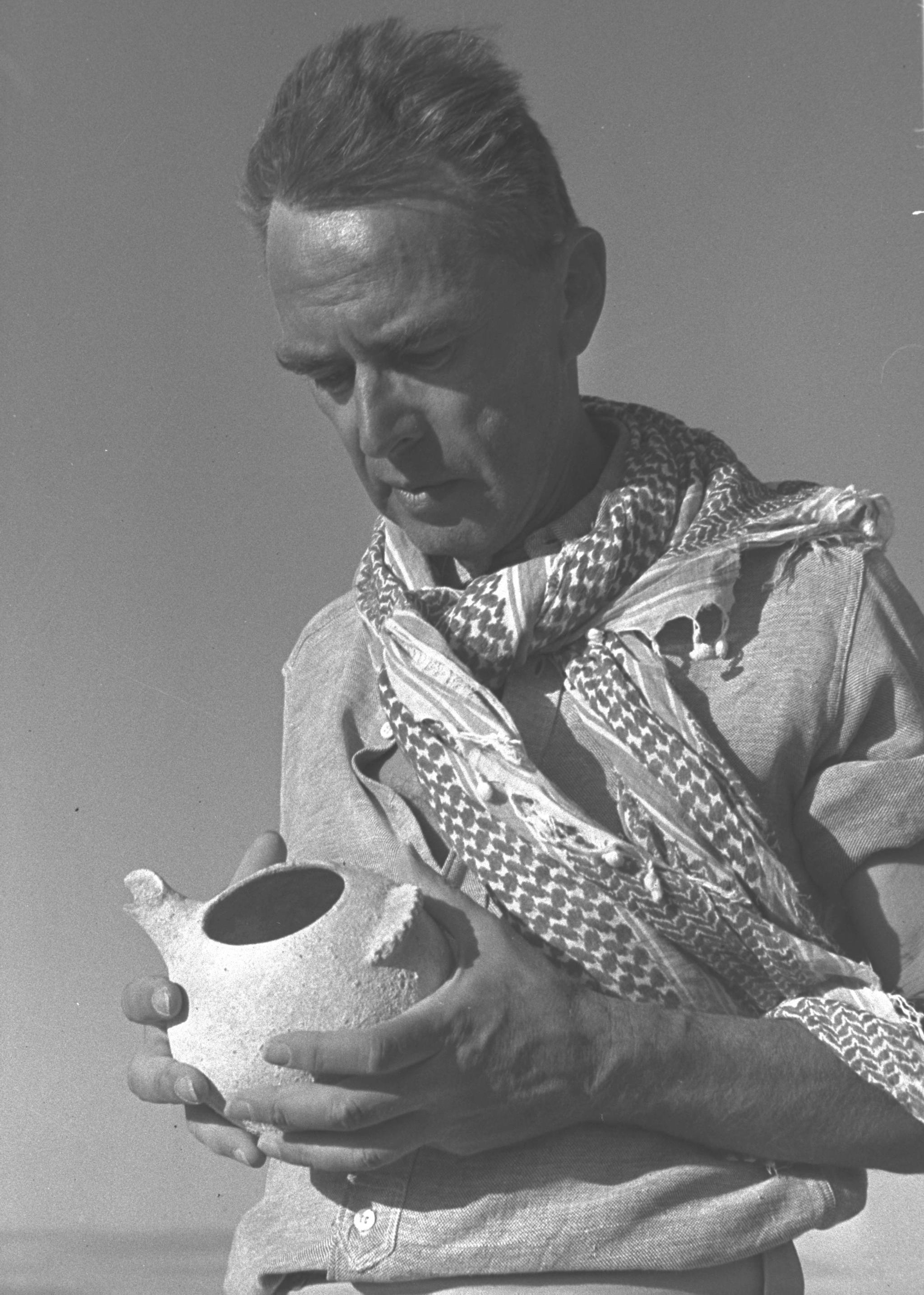 Archaeologist Prof. Nelson Glueck in Israel, 1956