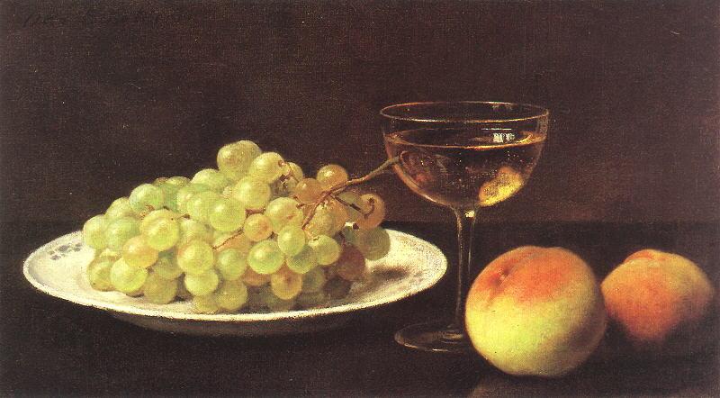 File:Otto Scholderer Stilleben mit Trauben auf einer Porzellanschale, zwei Pfirsichen und gefülltem Sherryglas.jpg