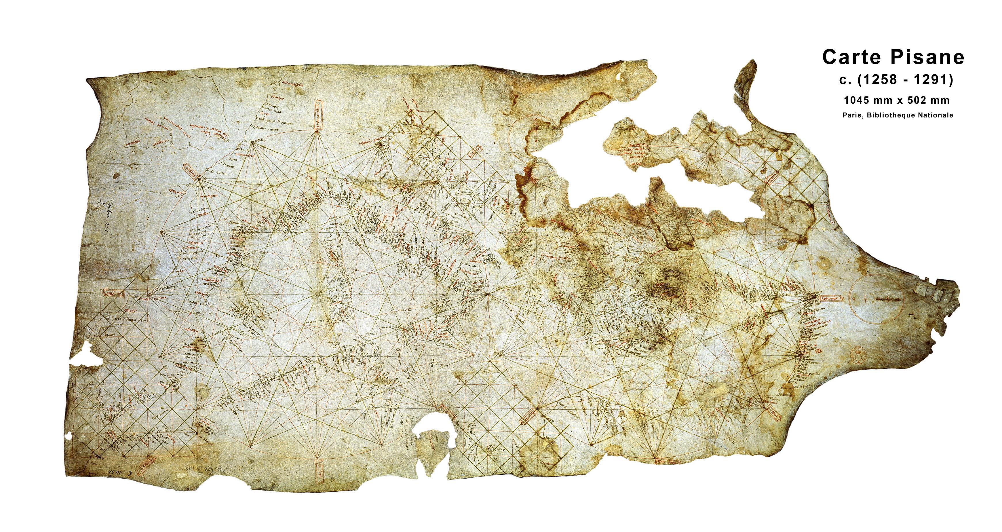 La Carta Pisana és el portolà més antic, dibuixat entre el 1275 i el 1300.