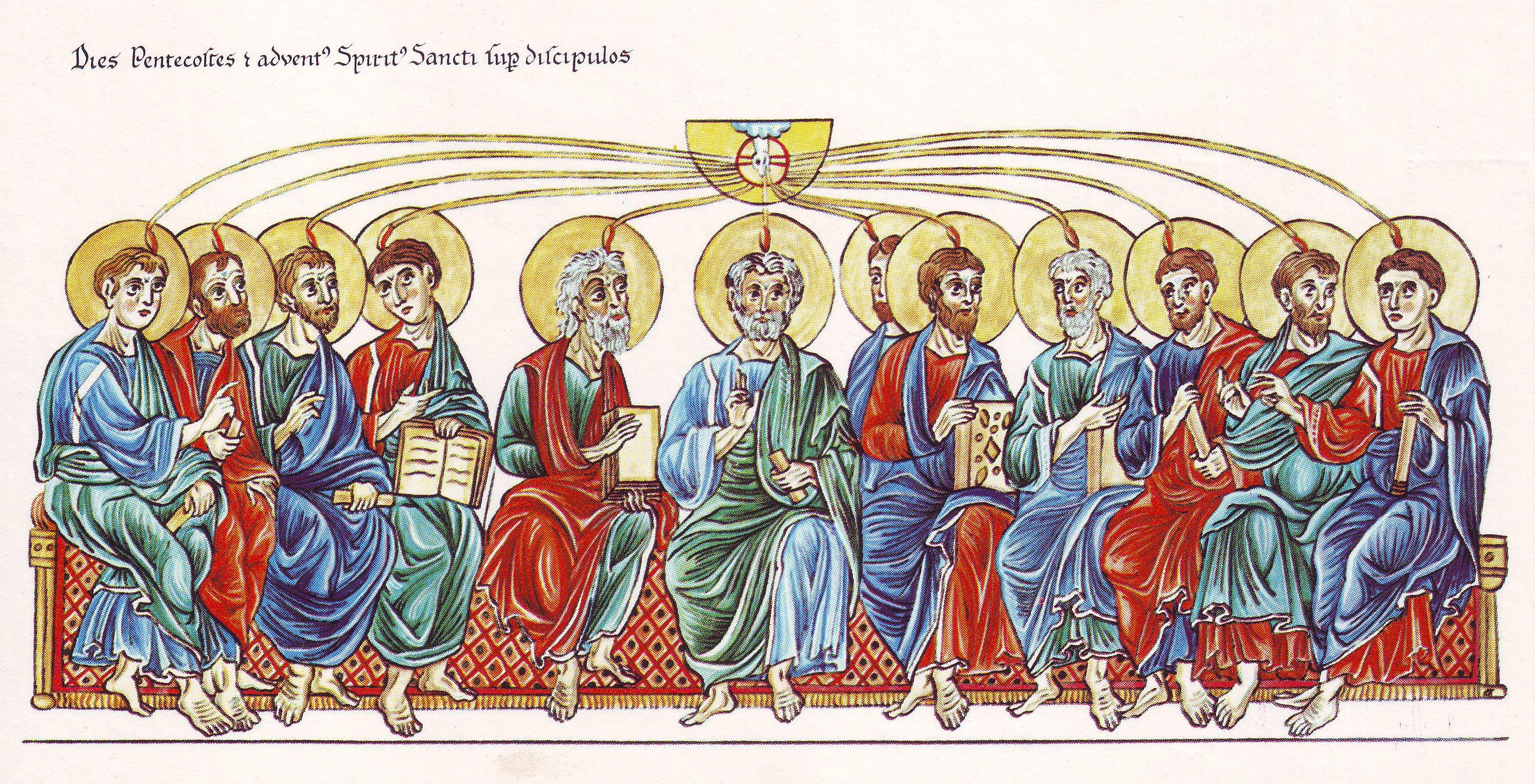 Hortus Deliciarum, Pfingsten und die Aussendung des Heiligen Geistes auf die Apostel.JPG