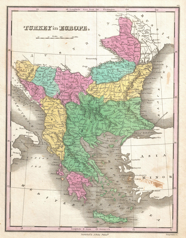 Map Of Turkey And Greece : turkey, greece, File:1827, Finley, Turkey, Europe,, Greece, Balkans, Geographicus, TurkeyEurope-finley-1827.jpg, Wikimedia, Commons