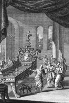 The change for good included defeating Og, a giant, and this is an engraving of his bed on Wikipedia