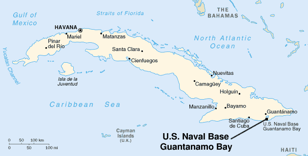 Map of Cuba with the location of Guantánamo Ba...