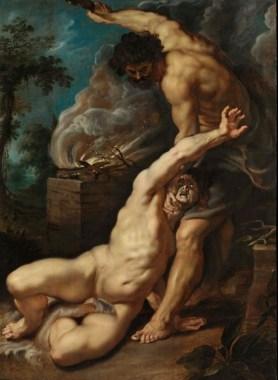 Caïn tuant Abel, Pierre Paul Rubens : Caïn maintient son frère couché près de l'autel du sacrifice.
