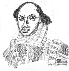 Sketch of William Shakespeare.
