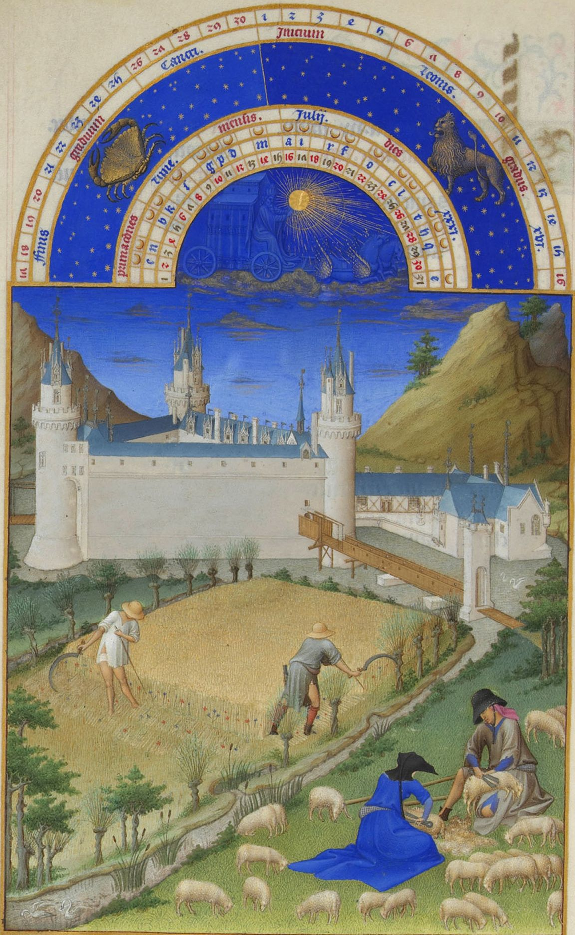 "Limbourg Brothers, ""The Book of Hours."" The harvest and shearing sheep."