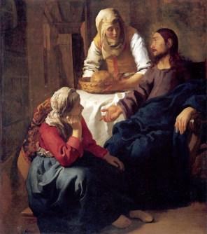 tableau de Jan Vermeer van Delft - Sa soeur Marie de Béthanie est dans le culte catholique assimilée à Marie de Magdala (Marie Madeleine) et à la pêcheresse, à l'origine annonyme, dont il est question dans l'évangile selon Saint Luc. C'est le pape Grégoire le Grand qui au VIème siècle décida que ces trois femmes n'en fairaient plus qu'une...