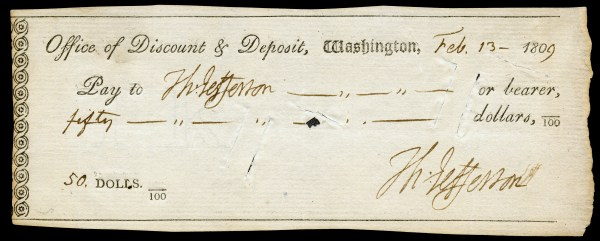 Thomas Jefferson Signed Check