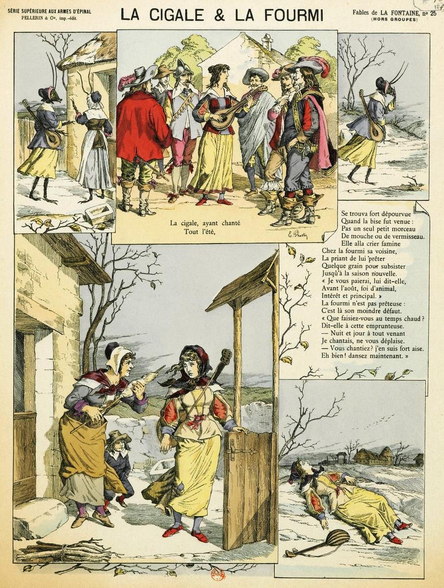 Illustration La Cigale Et La Fourmi : illustration, cigale, fourmi, File:Fables, Fontaine, Epinal, Cigale, Fourmi.jpg, Wikimedia, Commons
