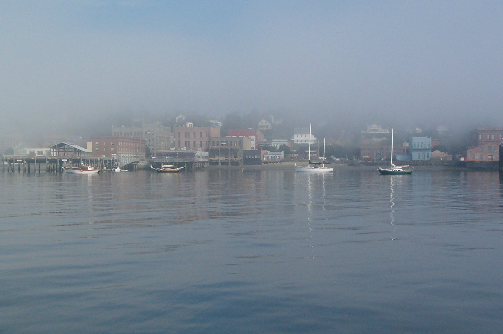 Port Townsend's downtown waterfront in the fog