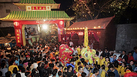 The Chinese New Year celebrated in Chinatown, Tangra, Kolkata, India. (11 February 2002, 23:05:46)