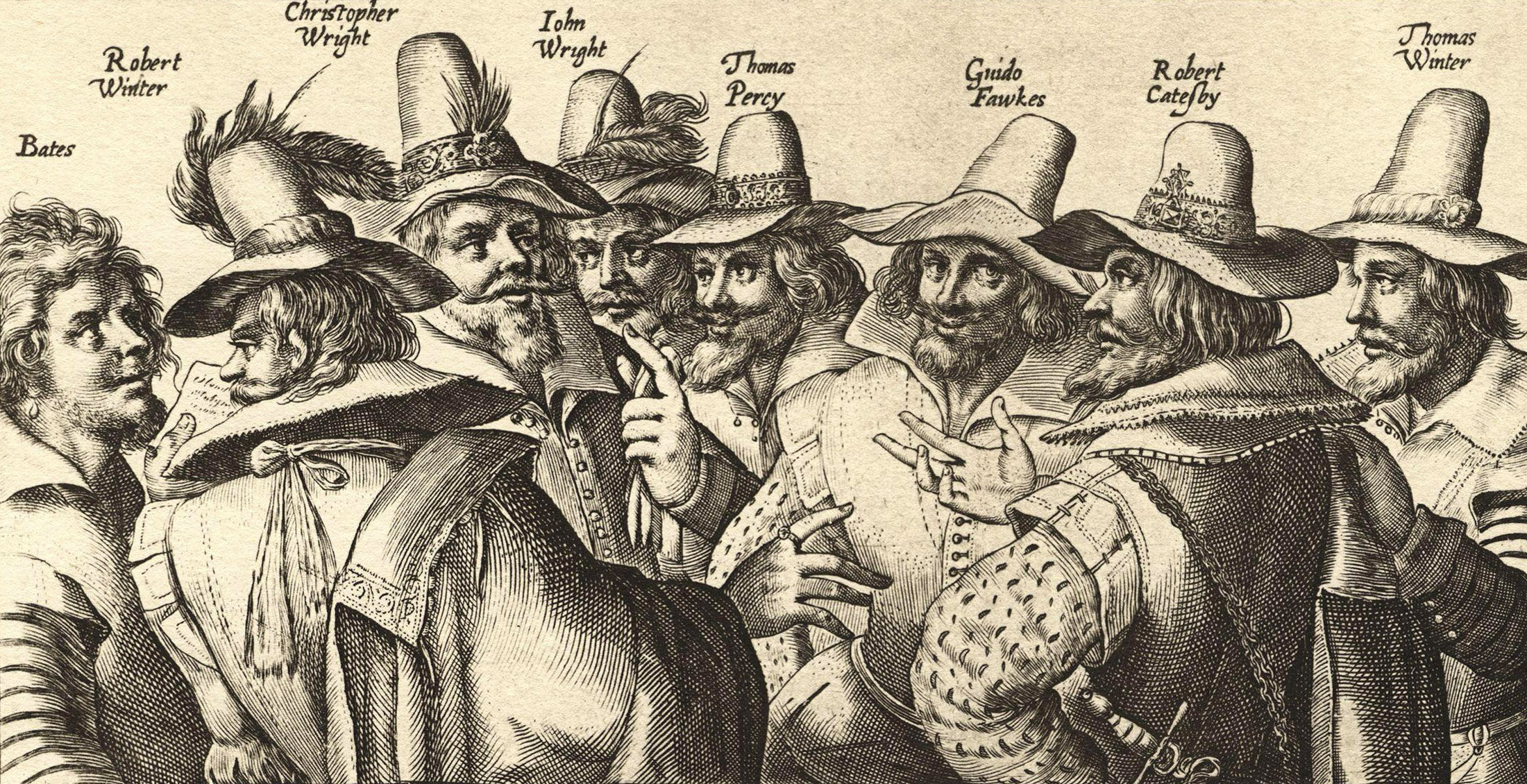 Guy Fawkes, third from right