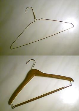 Wire (top) and wooden (bottom) clothes hangers