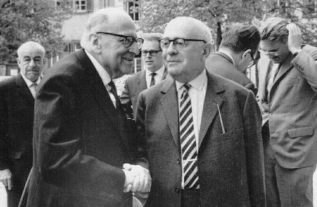 Photograph taken in April 1964 by Jeremy J. Shapiro at the Max Weber-Soziologentag. Horkheimer is front left, Adorno front right, and Habermas is in the background, right, running his hand through his hair.