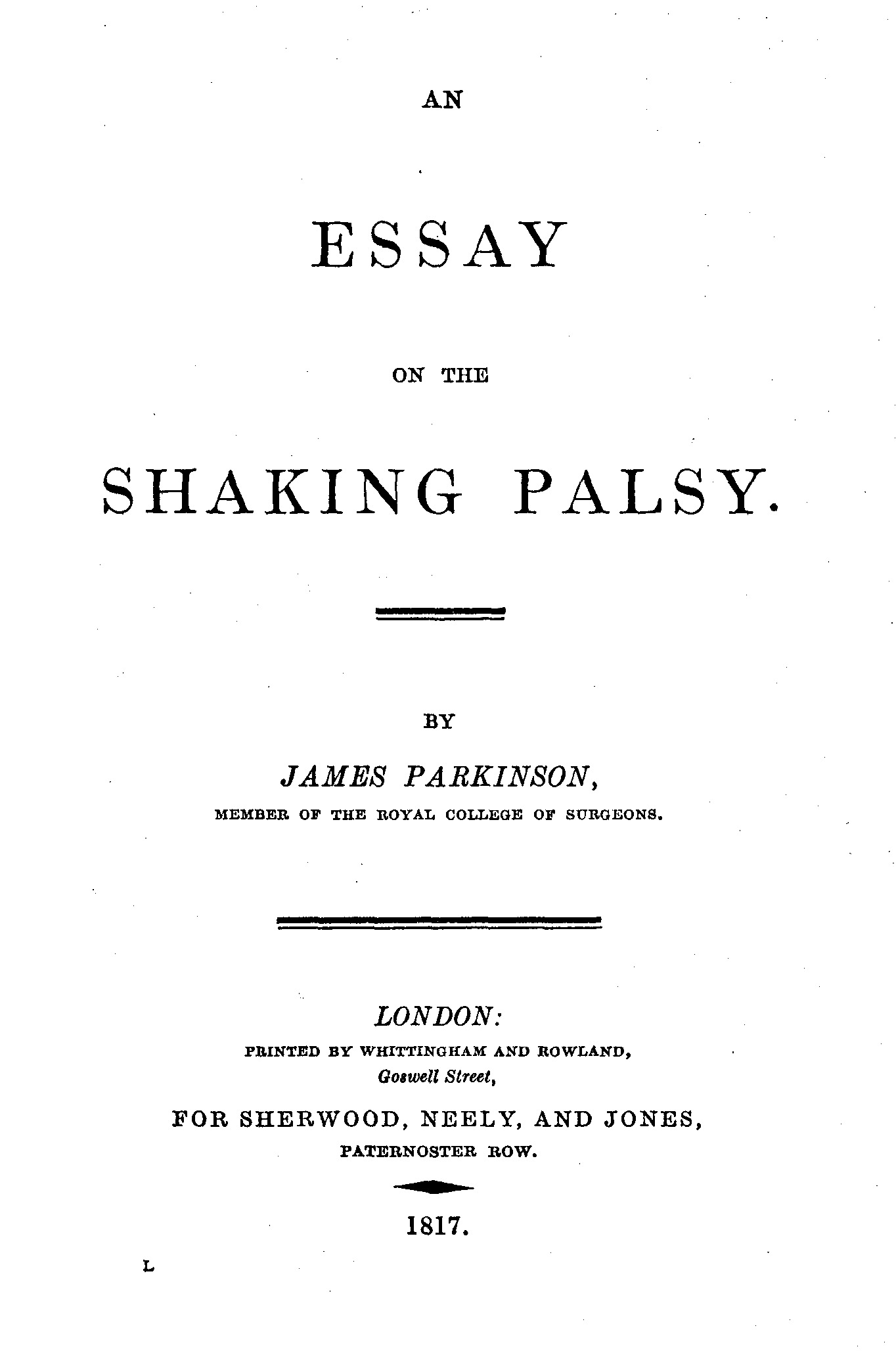 Original Essay File Parkinson An Essay On The Shaking Palsy Title