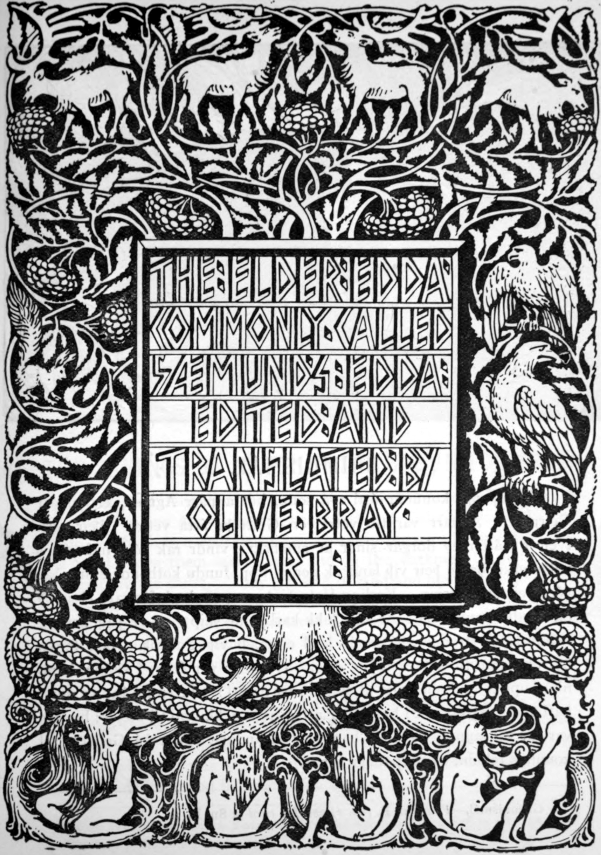 The Tree of Yggdrasil, title page of The Elder or Poetic Edda translated by Olive Bray. By WG Collingwood (source: Wikimedia Commons)