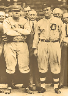 Babe Ruth (izquierda) y Ty Cobb