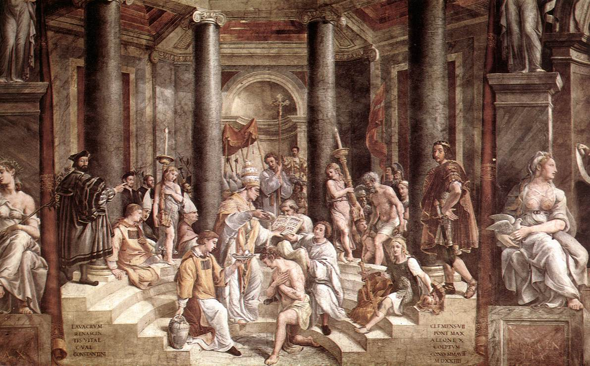 The Baptism of Constantine, painted by Raphael pupils (1520–1524).