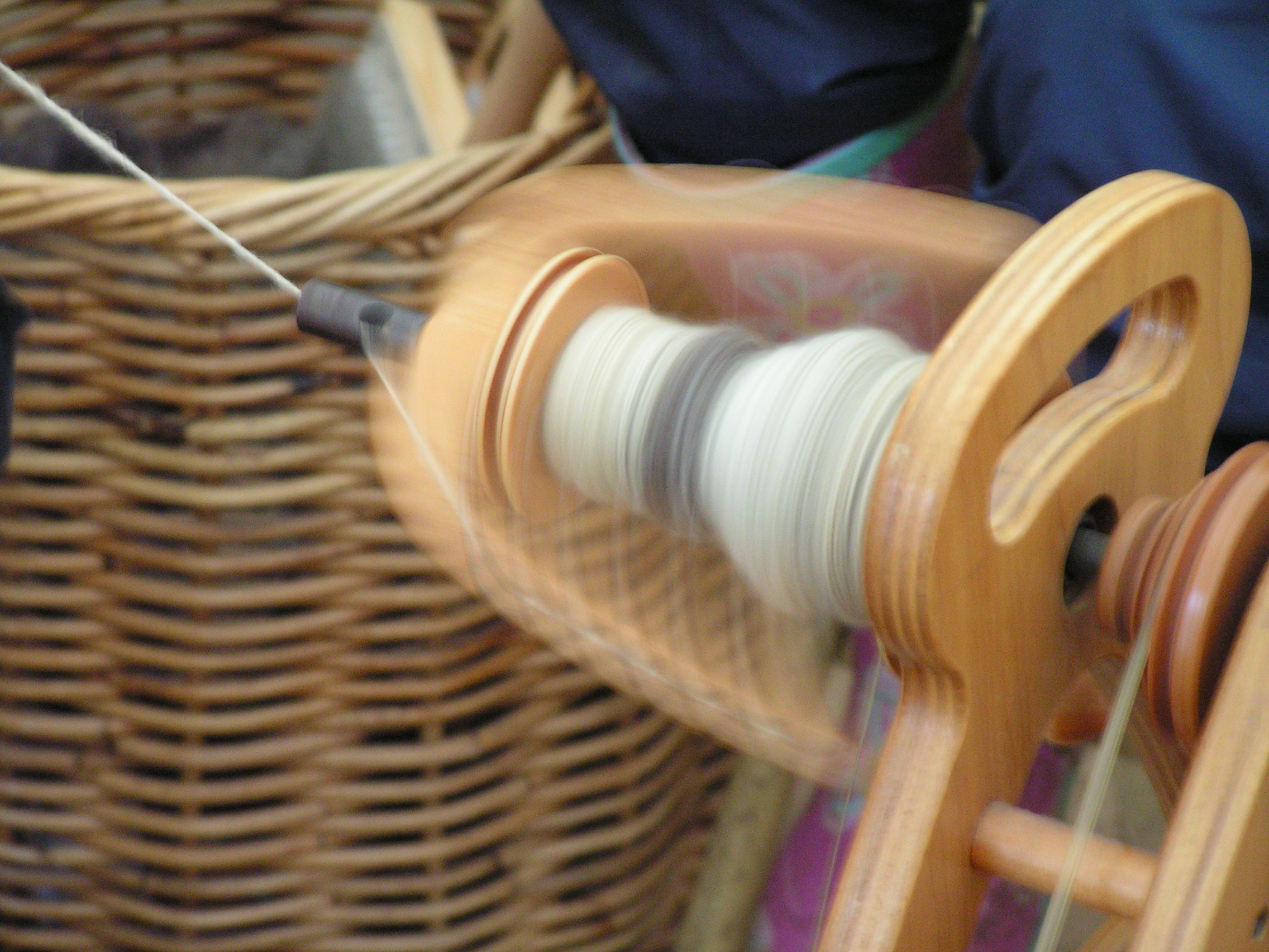 Spinning wool by hand