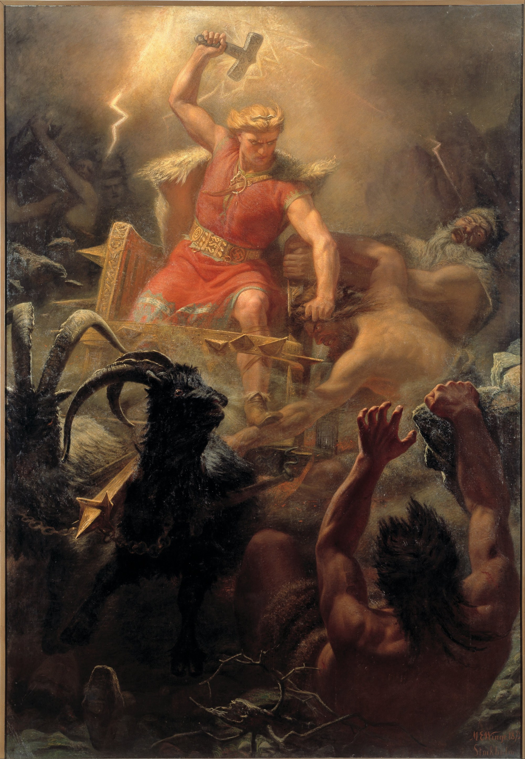 hight resolution of thor raising his hammer in a battle against the giants