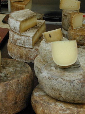 Cheese on a market in Basel, Switzerland