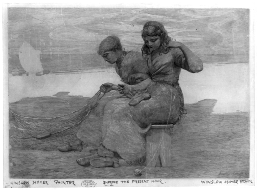 Painting of 2 women mending a fishing net