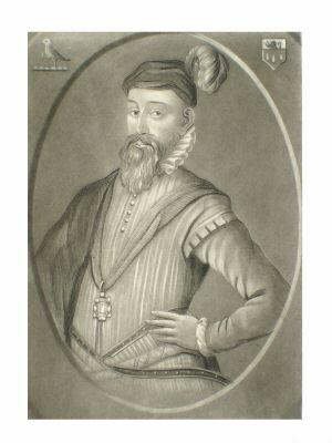 Engraved portrait of Sir John Perrot (c. 1527-...