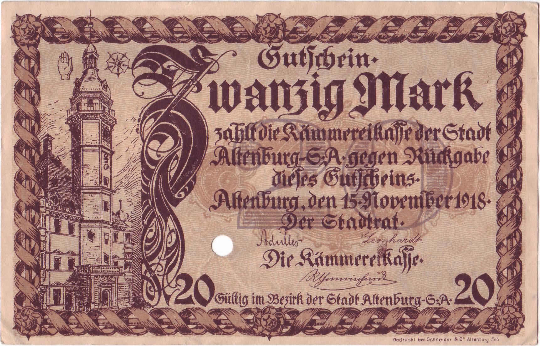 Ein 20 Markschein aus Altenburg in Sachsen aus dem Jahre 1918