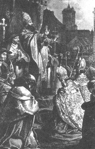 Pope Urban II preaches the First Crusade at th...