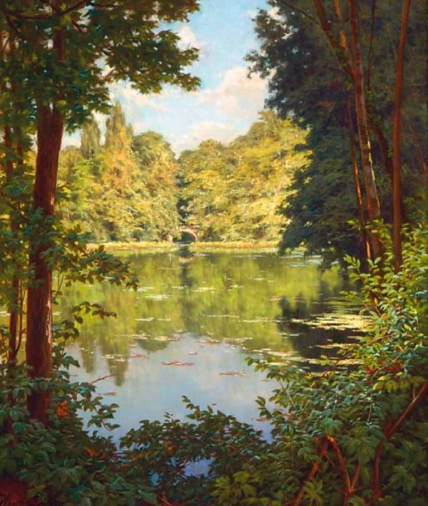 Painting On Canvas of River and Sun