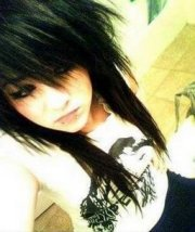 file long black emo hair