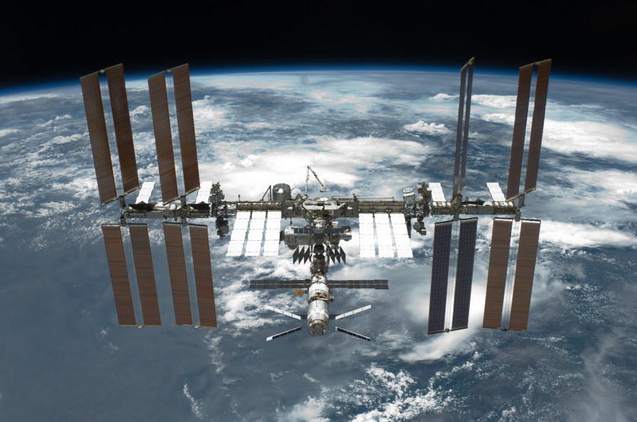 The International Space Station, as seen from Space Shuttle Endeavour in May 2011
