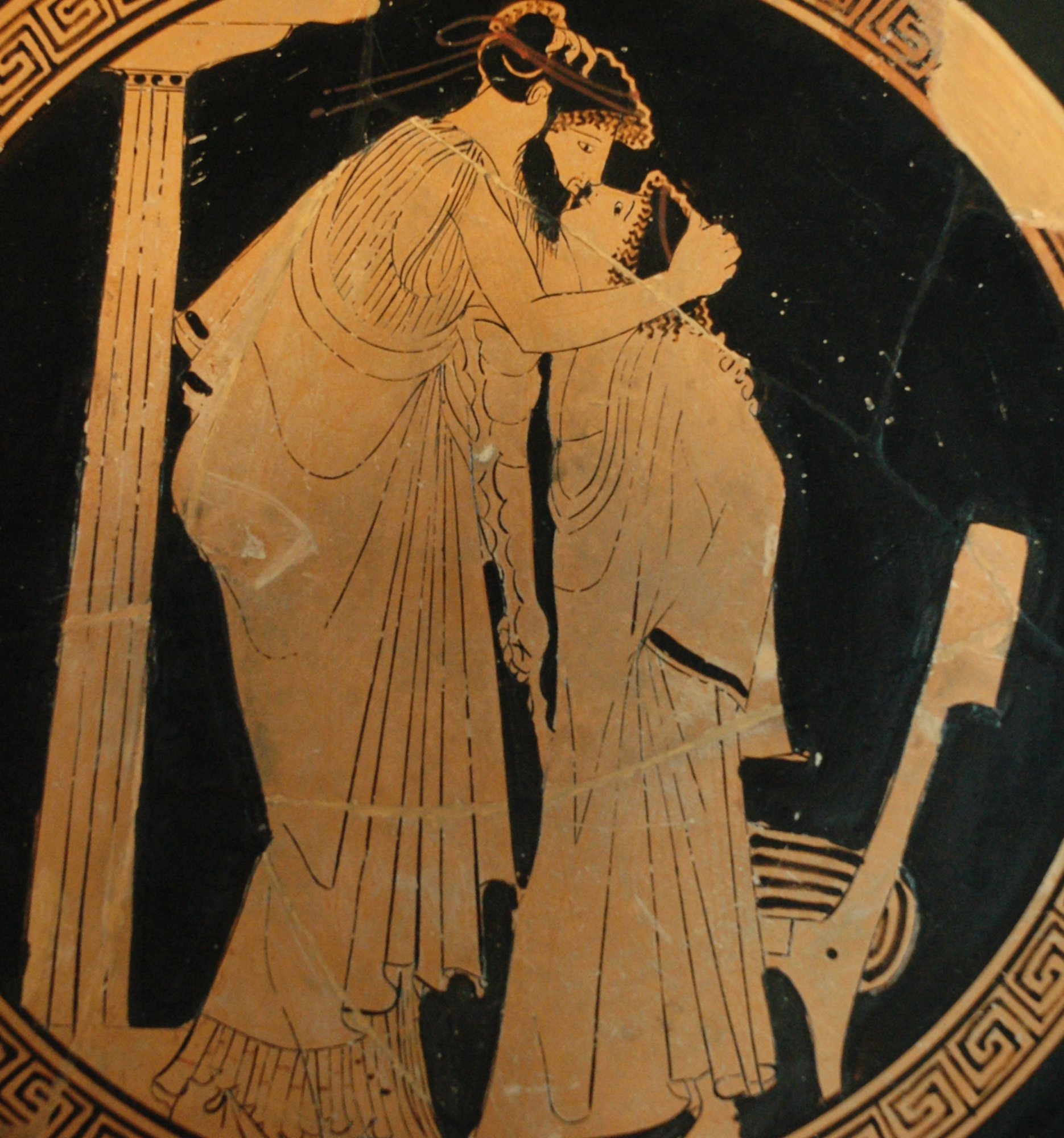 The origins of the western kiss are ancient. 5th c. Athenian: Erastes and Eromenos