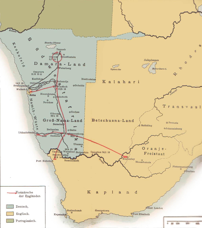 Les combats de 1914-1915 dans le Sud-ouest africain allemand - Wikicommons