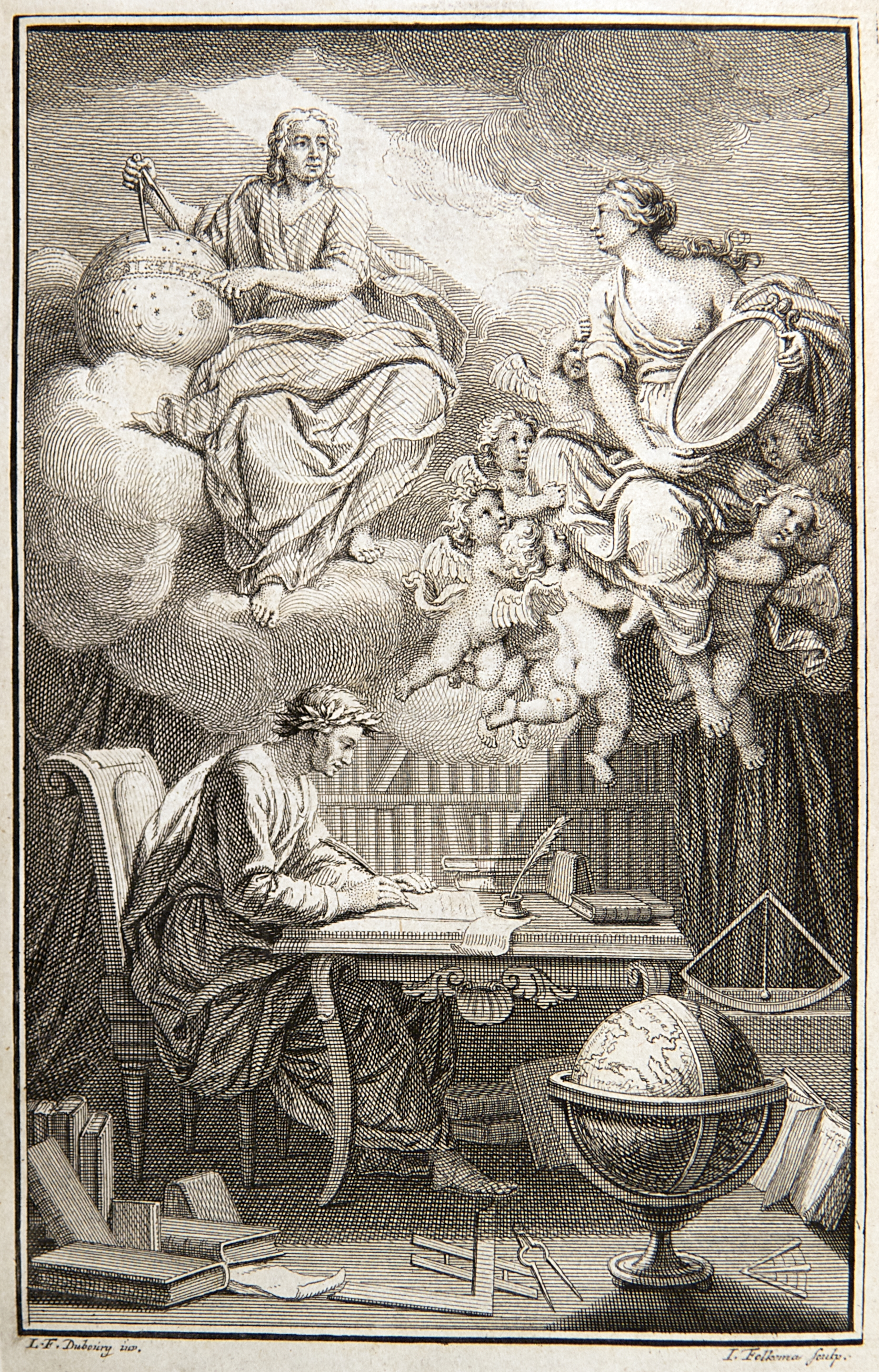 "The frontispiece of the ""Elements of the philosophy of Newton"", Voltaire, 1738."