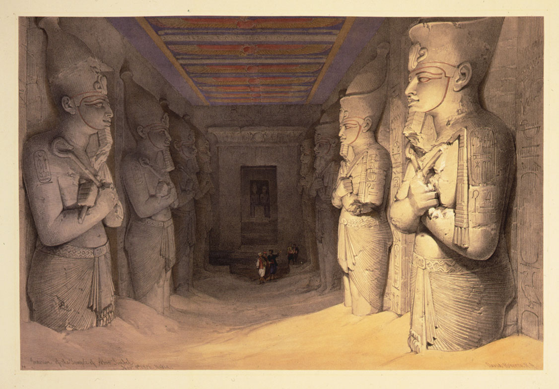 Inside the temple of Aboo-simbel by David Roberts (1848)