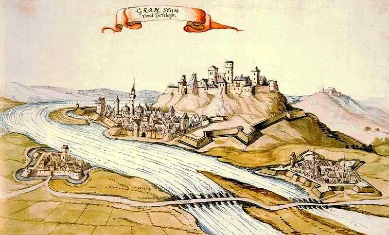 A török kori Esztergom látképe - vízfestmény, 1664