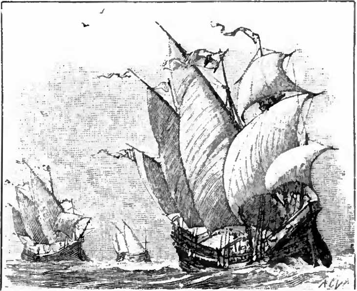 This Is A Drawing Done In 1900 For An Encyclopedia It Shows The Nina Pinta And Santa Maria Columbus Three Ships Public Domain
