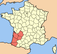 Map of France, showing the region of Aquitaine; taken from Wikipedia