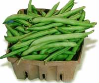 Whole green beans in a carton.