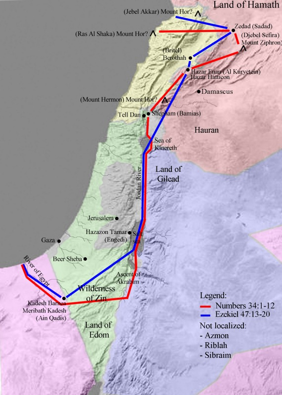 The borders of the land of Israel according to Numbers and Ezekiel. From Wikipedia