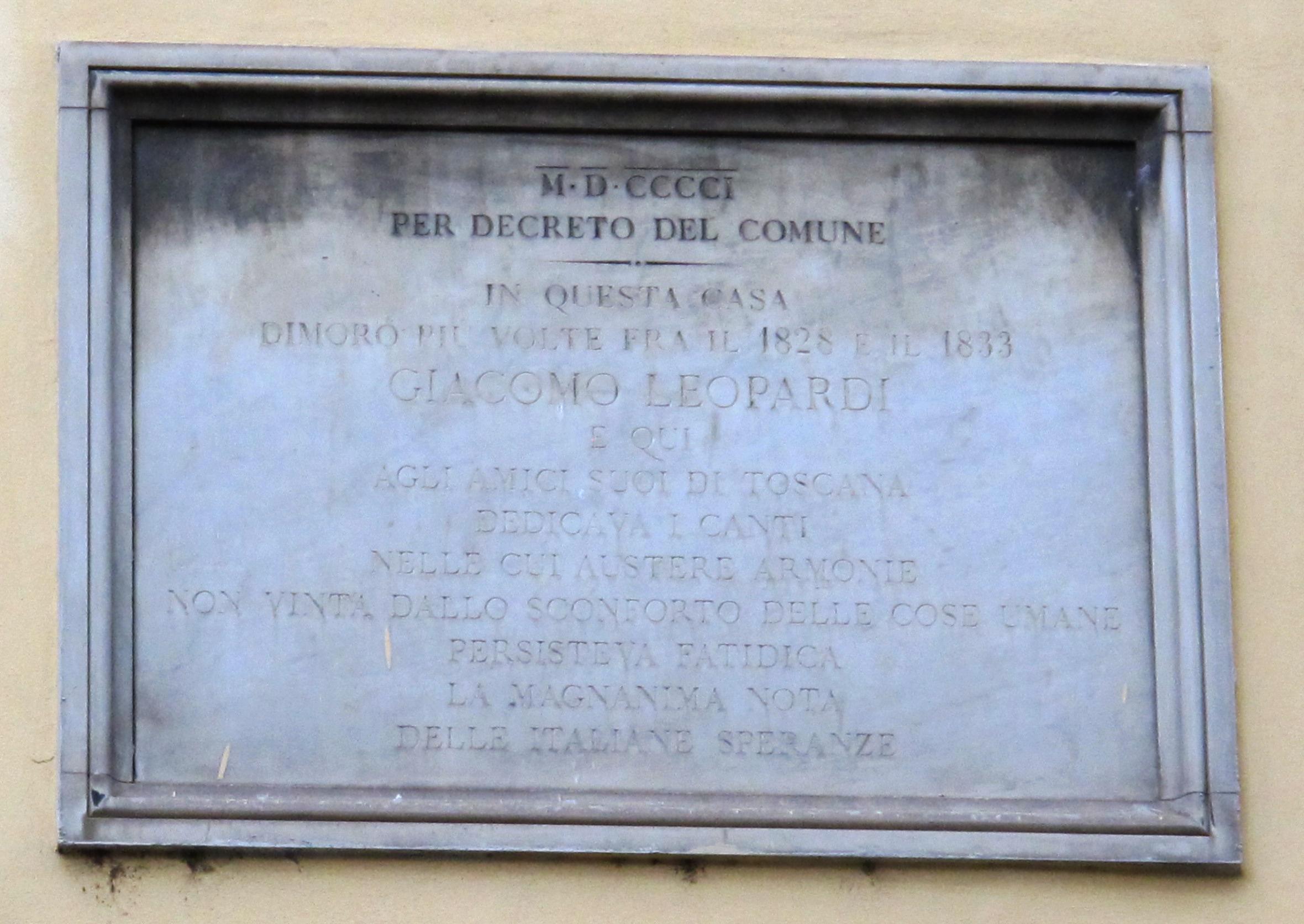 FileVia verdi 11 Casa del monastero di San Pier Maggiore targa giacomo leopardiJPG  Wikipedia