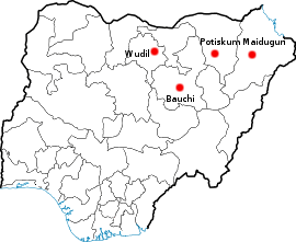 Location of the four cities in north eastern N...