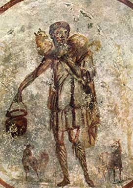 Good Shepherd fresco from the Catacombs of San...