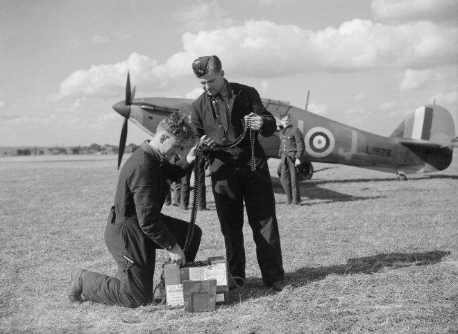 Pilot in front of his Hurricane during Battle of Britain